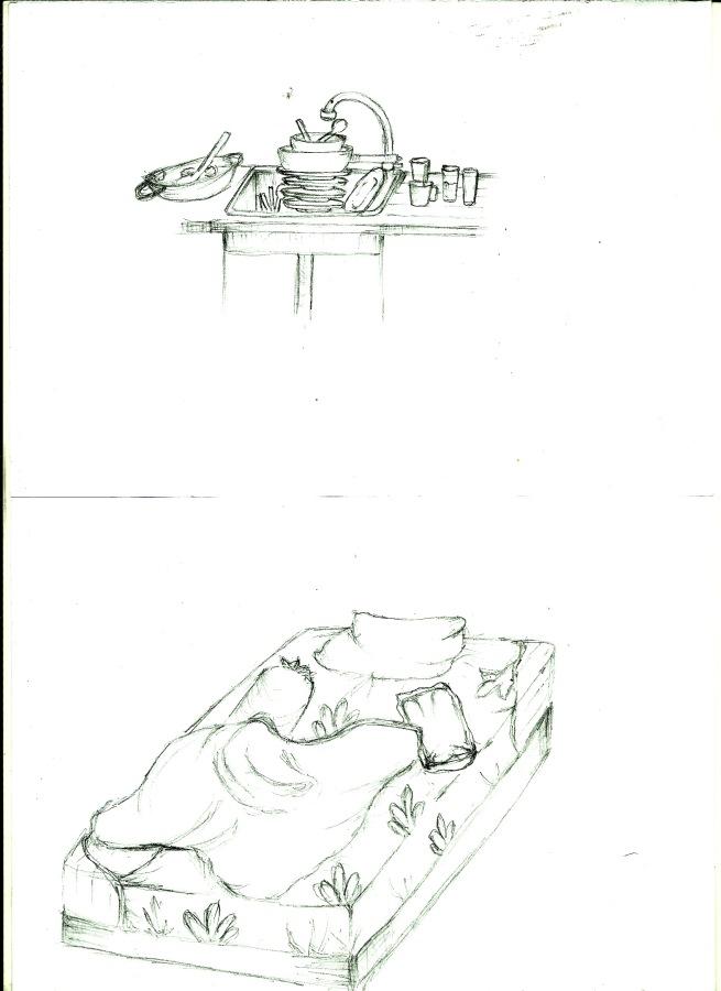 Cucian piring yang menumpuk (terlihat tidak rapi) dan tempat tidur yang berantakan